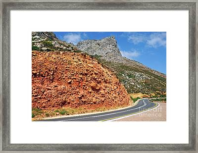 Winding Road Between Gordon's Bay And Betty's Bay Framed Print by Sami Sarkis