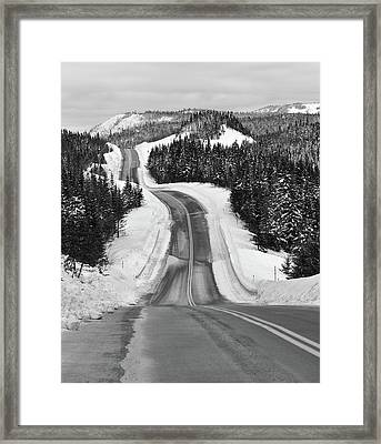 Winding Winter Roads Framed Print by Peter Bowers