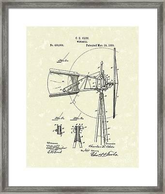 Windmill 1889 Patent Art Framed Print