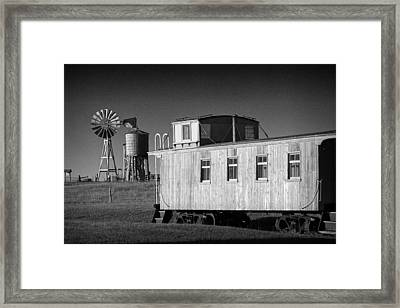 Windmill And Caboose From A Train In 1880's Town Framed Print