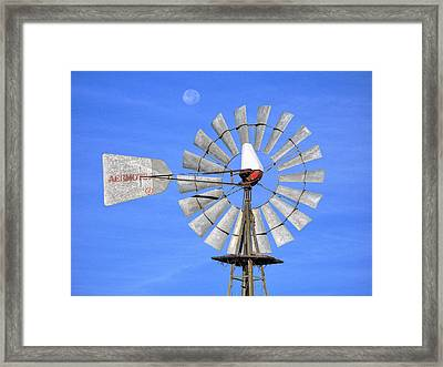 Windmill And Moon Framed Print by Luc Novovitch