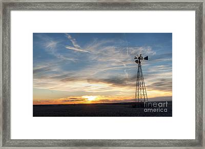 Framed Print featuring the photograph Windmill And Sunset by Art Whitton