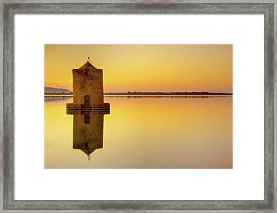 Windmill At Sunset Framed Print by by Andrea Pucci