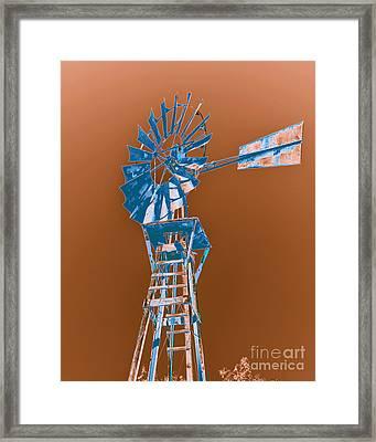 Windmill Blue Framed Print by Rebecca Margraf