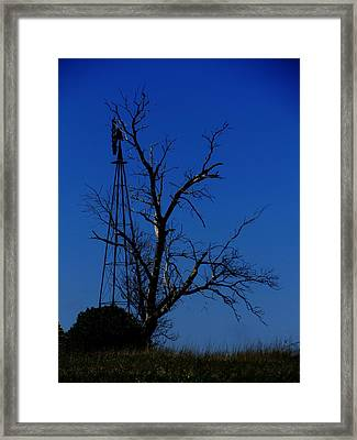 Windmill Blue Framed Print by Todd Sherlock