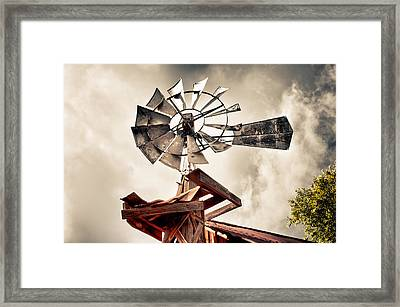 Framed Print featuring the photograph Windmill With Storm Approaching by James Bethanis