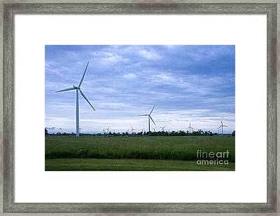Windmills Eoliennes Framed Print by Nicole  Cloutier Photographie Evolution Photography