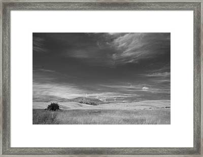 Framed Print featuring the photograph Windmills In The Distant Hills by Kathleen Grace