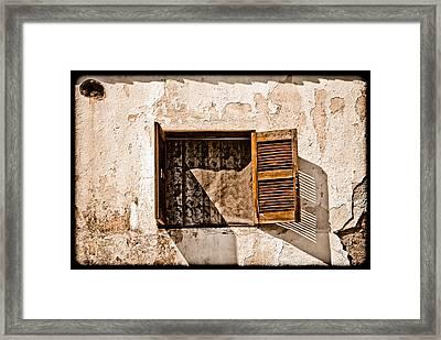Hanioti, Greece - Window And Lace Framed Print