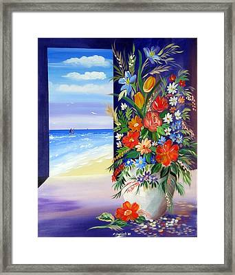 Framed Print featuring the painting Window On The Beach by Roberto Gagliardi