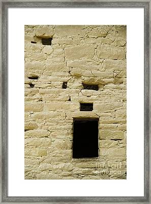 Window Opening In Old Brick Adobe Wall Framed Print by Ned Frisk