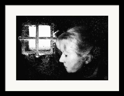 Light On Womans Face. Selfportrait Framed Prints