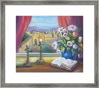 Window View To Jerusalem Framed Print by Sara Kesar