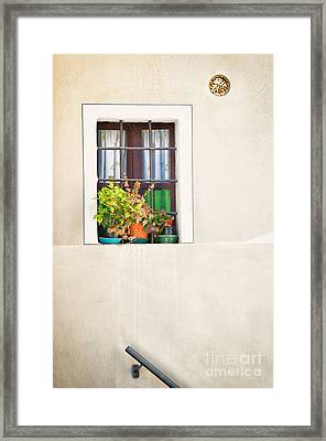 Window With White Frame And Vases Framed Print by Silvia Ganora