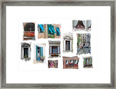 Windows Of Venice Framed Print