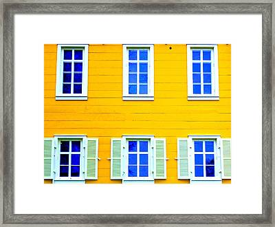Windows On Yellow Framed Print by Randall Weidner