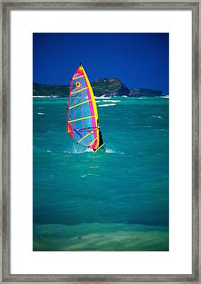 Windsurfer On The Shores Of Kailua Beach, Kailua, United States Of America Framed Print by Ann Cecil