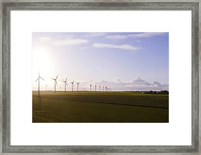 Windturbines At German Coast Framed Print by Axel Schmies