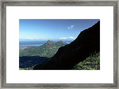 Windward Oahu From The Koolau Mountains Framed Print by Thomas R Fletcher