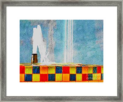 Framed Print featuring the photograph Windy Fountain  by John King