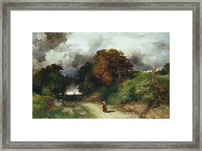 Windy Hilltop Framed Print by Thomas Moran