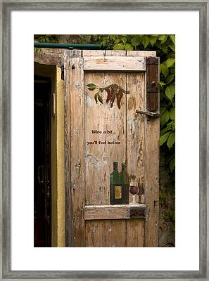 Wine A Bit Door Framed Print by Sally Weigand