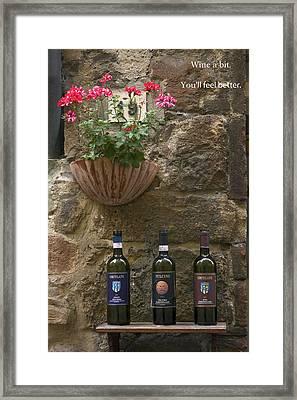 Wine A Bit Framed Print by Sally Weigand