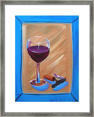 Wine And Cork Framed Print by Michael Baum