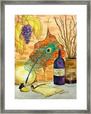 Wine And Feather Framed Print by Lee Halbrook