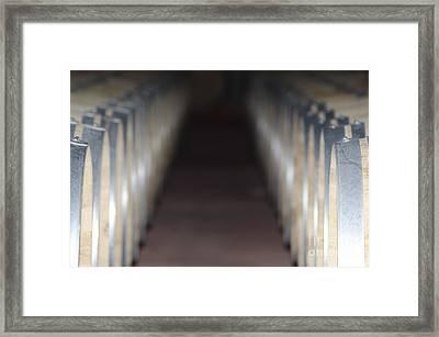 Wine Barrels In Line Framed Print