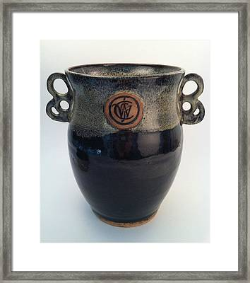Wine Chiller Or Vase With Licorice And Light Beige Glaze  Framed Print by Carolyn Coffey Wallace