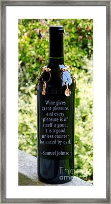 Wine Gives Great Pleasure Framed Print by Renee Trenholm