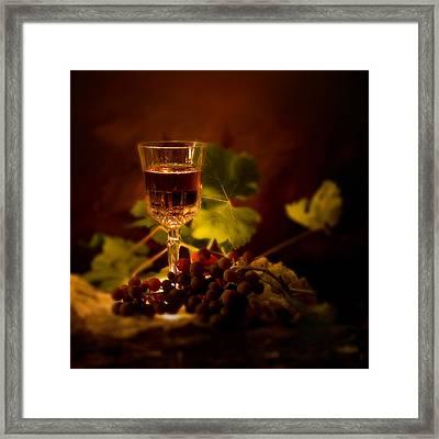 Wine Glass And Grapes Framed Print by Ellie Caputo