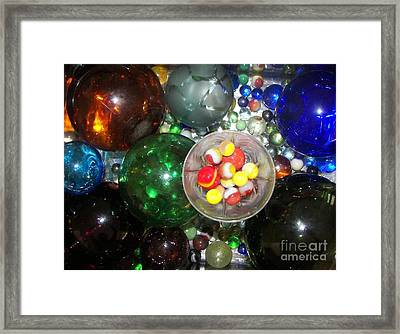 Wine Glass And Marbles Framed Print by Rachel Carmichael