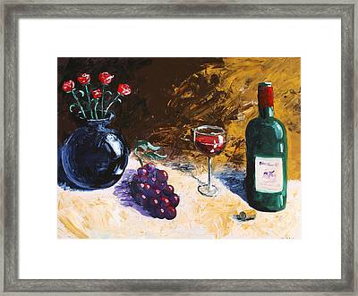 Framed Print featuring the painting Wine Grapes And Roses Still Life Painting by Mark Webster