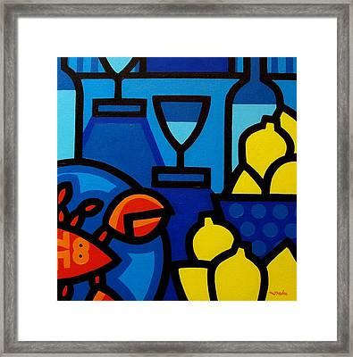 Wine Lobster Lemons  Framed Print