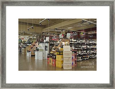 Wine Section In A Supermarket Framed Print