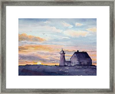 Wings Neck Lighthouse Bourne Massachusetts Watercolor Framed Print