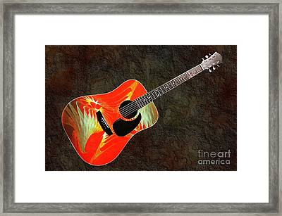 Wings Of Paradise Abstract Guitar Framed Print by Andee Design