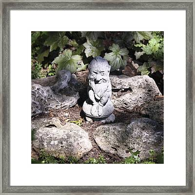 Winkie The Garden Gnome Squared Framed Print by Teresa Mucha