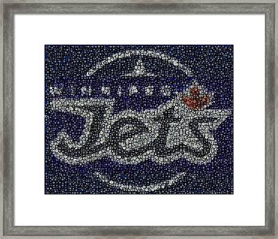 Winnipeg Jets Puck Mosaic Framed Print by Paul Van Scott