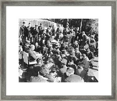 Winston Churchill And Franklin Framed Print by Everett