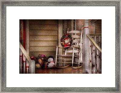 Winter - Metuchen Nj - Waiting For Santa  Framed Print by Mike Savad