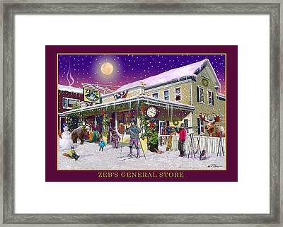 Winter At Zebs General Store In North Conway Nh Framed Print