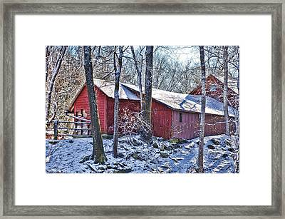 Winter Barn Framed Print by Nancy Rohrig