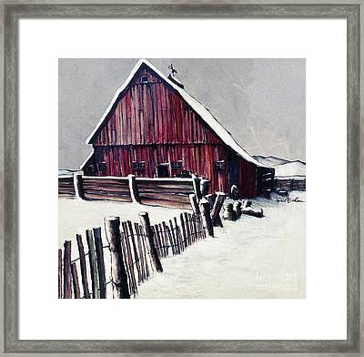 Winter Barn Framed Print by Robert Birkenes