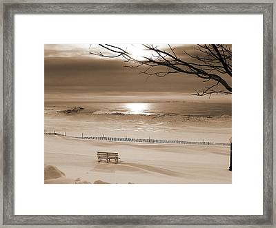 Winter Beach Morning Sepia Framed Print by Bill Pevlor