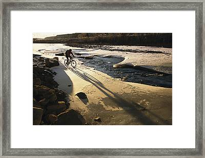 Winter Bicycling On The Partially Framed Print