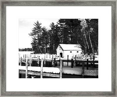 Winter Boathouse Framed Print