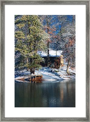 Winter Cabin - Only Winter Shot Ever Captured - Artist Cris Hayes Framed Print